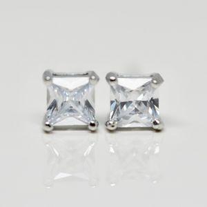 18k Gold Dipped Princess Topaz earrings Studs